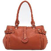 John Lewis Leather Shoulder Bag, Pumpkin