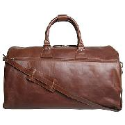 John Lewis Leather Travel Bag, Tan, Medium