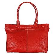 John Lewis Leather Workbag, Red