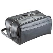 Leather Wash Bag, Black