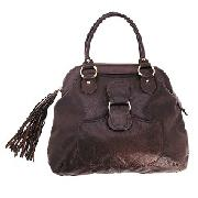 Large Leather Tassle Bag
