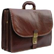 Pellevera Leather Briefcase with Combination Lock