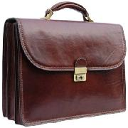 Pellevera Leather Briefcase with Key Lock