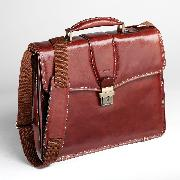 Enzo Rossi Florence Leather Flap Over Ladies Briefcase In Italian Florence Leather