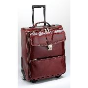 Enzo Rossi Florence Leather Flap Over Trolley Case In Italian Florence Leather