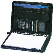Falcon A4 Zipped Folio, 4 Ring Binder Conference Folder with Calculator