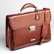Enzo Rossi Florence Leather Gusset Flap Over Briefcase In Italian Florence Leather