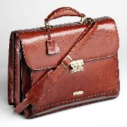 Enzo Rossi Florence Leather Three Gusset Flap Over Briefcase In Italian Florence Leather