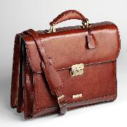 Enzo Rossi Florence Leather Two Gusset Flap Over Briefcase In Italian Florence Leather