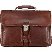 Tony Perotti Vegetale Ladies Leather Briefcase with Front Pockets