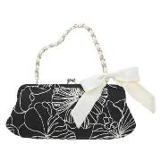 Debut - Black and White Flower Embroidered Clutch Bag