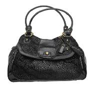 Debenhams Collection - Black Patent Snake Print Scoop Bag