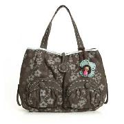 Nica - Brown Floral Print Tote Bag
