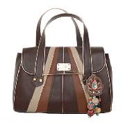Butterfly by Matthew Williamson - Brown Large Patchwork Panel Shoulder Bag