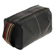 CAD by Cheet - Brown Leather Webbing Wash Bag