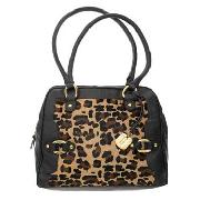 Betty Jackson.Black - Caramel Leopard Print Leather Bag
