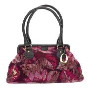 Rocha.John Rocha - Chocolate and Pink Tapestry Frame Bag