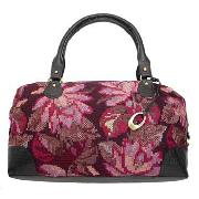 Rocha.John Rocha - Chocolate and Pink Tapestry Weekender Bag