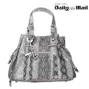 John by John Richmond - Grey Snake Effect Drawstring Shoulder Bag