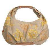 Rocha.John Rocha - Khaki Embroidered Small Slouch Canvas Bag