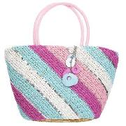 Debenhams - Pink and Blue Diagonal Stripe Tote