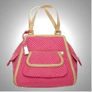 J by Jasper Conran - Pink and Tan Chevron Quilted Tote Bag