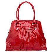 Red Herring - Red Patent Gathered Dome Tote Bag
