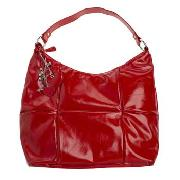 Red Herring - Red Patent Panel Slouch Bag