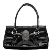 Red Herring - Shiny Black Shoulder Bag