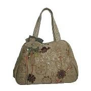 Nica - Taupe Embossed Bowling Bag