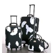 Next - Cow Print Set of Two Trolley Cases with Vanity Set